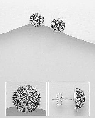 925 Sterling Silver Flower Studs Earrings Decorated With CZ Stones